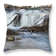 St Vrain River Waterfall Slow Flow Throw Pillow