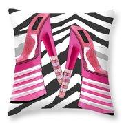 Stack 'em High Pink Platforms On Zebra Throw Pillow