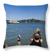 Stacking Rocks And Ferry Throw Pillow