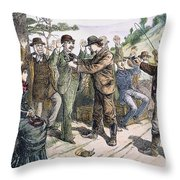Stagecoach Robbery, 1880s Throw Pillow
