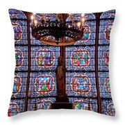 Stained Glass At Notre Dame Cathedral Throw Pillow