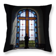 Stained Glass Cross Window Of Hope Throw Pillow