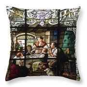 Stained Glass Family Giving Thanks Throw Pillow
