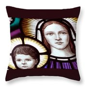Stained Glass Holy Family Throw Pillow