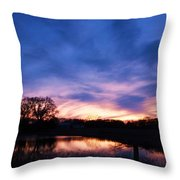 Stained Glass Sunset Throw Pillow