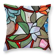 Stained Glass Wild  Flowers Throw Pillow