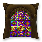 Stained Glass Window In Mezquita Throw Pillow