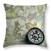 Star Map And Compass Throw Pillow