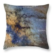 Star Map Version The Milky Way And Constellations Scorpius Sagittarius And The Star Antares Throw Pillow
