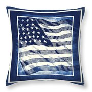 Star Spangled Banner Blue Throw Pillow