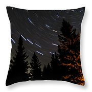 Star Trails Above Spruce Tree Line Throw Pillow by Darcy Michaelchuk