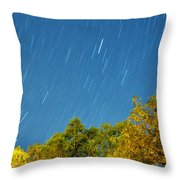 Star Trails On A Blue Sky Throw Pillow