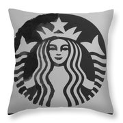 Starbuck The Mermaid In Black And White Throw Pillow