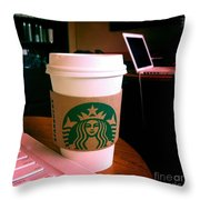 Starbucks And Computers Throw Pillow