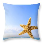 Starfish In Front Of The Ocean Throw Pillow