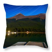 Starry Night Of Mountains And Lake Throw Pillow