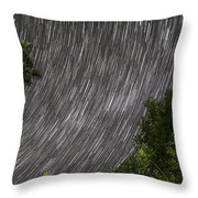 Startrails Above Tree Throw Pillow