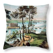Staten Island And The Narrows, 20th Throw Pillow