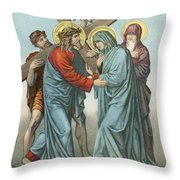 Station Iv Jesus Carrying The Cross Meets His Most Afflicted Mother Throw Pillow