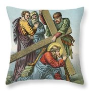Station Vii Jesus Falls Under The Cross The Second Time Throw Pillow