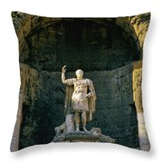 Statue De L'empereur Auguste Dans Le Theatre D'orange. Throw Pillow by Bernard Jaubert