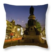 Statue Of A Man On A Pedestal On The Throw Pillow