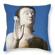 Statue Of Buddha At Wat That Luang Tai Throw Pillow