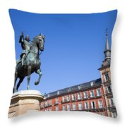 Statue Of King Philip IIi At Plaza Mayor Throw Pillow