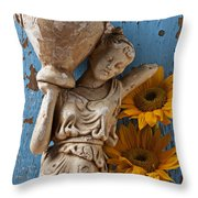 Statue Of Woman With Sunflowers Throw Pillow