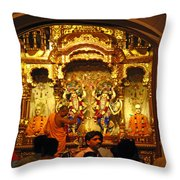 Statues Of Ram And Lakshman And Sita At The Iskcon Temple In Delhi Throw Pillow