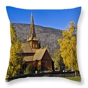 Stave Church In Lom Throw Pillow