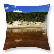 Steam At Firehole Lake Throw Pillow