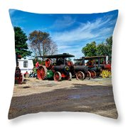 Steam Engines Lined Up Throw Pillow