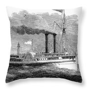 Steamboat, 1850 Throw Pillow