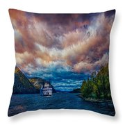 Steamboat On The Hudson River Throw Pillow