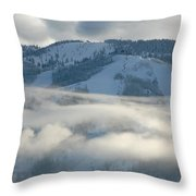 Steamboat Ski Area In Clouds Throw Pillow