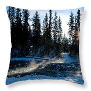 Steaming River In Winter Throw Pillow