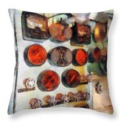 Steampunk - Gauges In Engine Room Throw Pillow