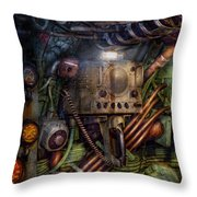 Steampunk - Naval - The Comm Station Throw Pillow