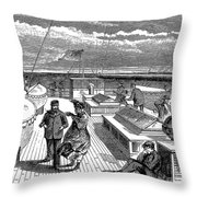 Steamships: Deck, 1870 Throw Pillow