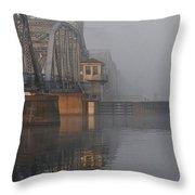 Steel Bridge In Fog - Vertical Throw Pillow