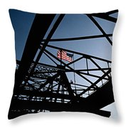 Steel Bridge With American Flag Throw Pillow