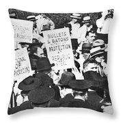 Steel Strike, 1937 Throw Pillow