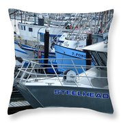 Steelhead And Fishing Boats Throw Pillow
