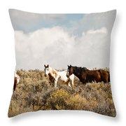 Steens Wild Horses Throw Pillow