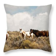 Steens Wild Horses Throw Pillow