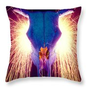 Steer Skull With Sparks  Throw Pillow