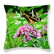 Stencilled Butterfly Throw Pillow