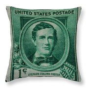 Stephen Collins Foster Postage Stamp Throw Pillow