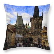 Stepping Off The Bridge Throw Pillow